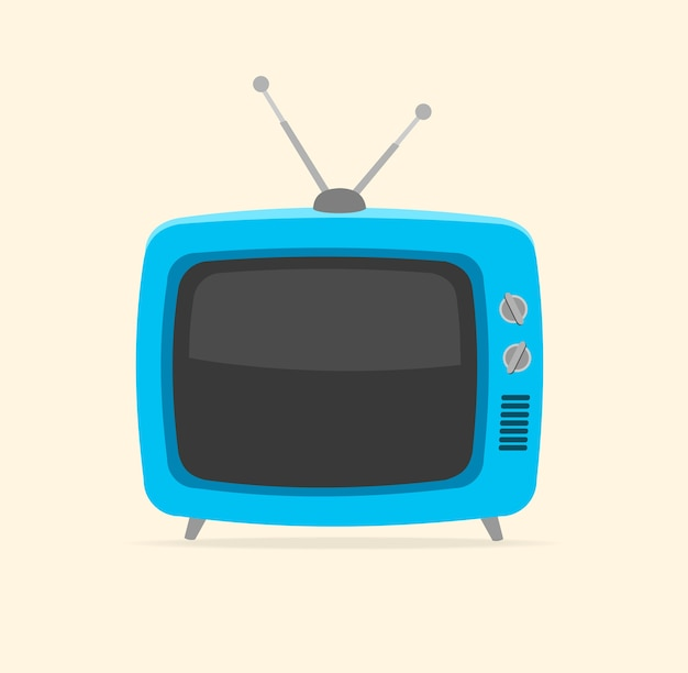 Blue retro tv and tiny antenna isolated on white background. Premium Vector