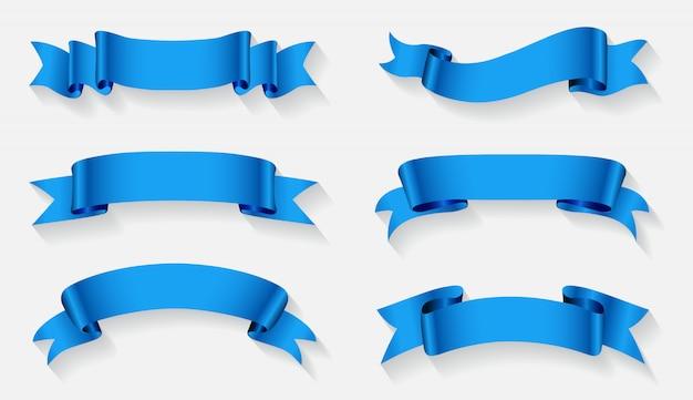 Blue ribbon banners set Premium Vector