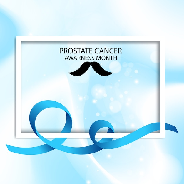 Blue ribbon cancer prostate awarness month illustration Premium Vector