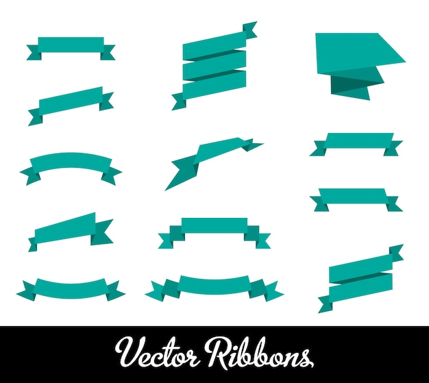 Blue ribbons set Free Vector