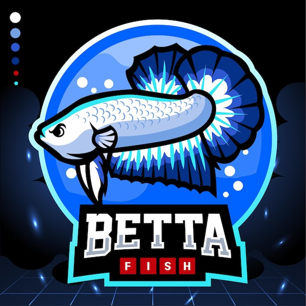 ブルーリムベタの魚のマスコット。 eスポーツロゴ Premiumベクター