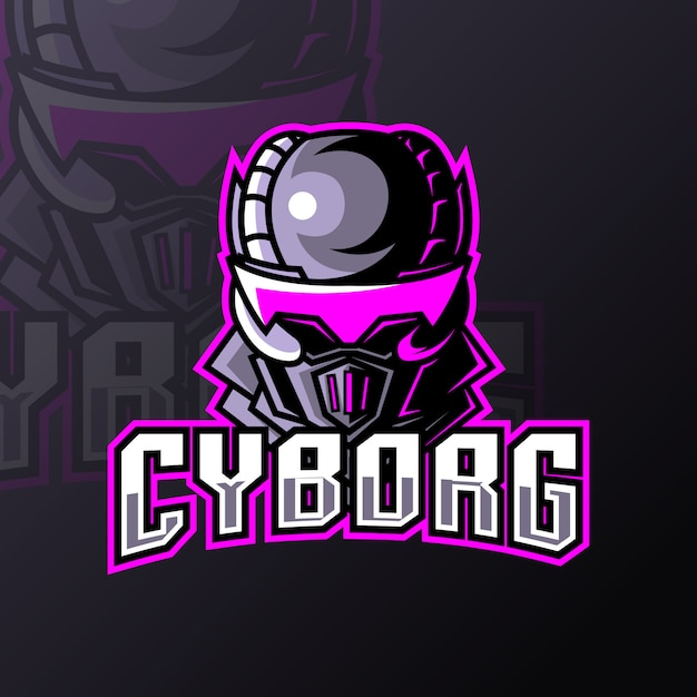 Синий роботизированный дизайн логотипа киборг спорт кибер спорт с железной униформе Premium векторы