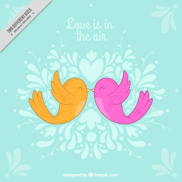 Blue romantic background with colorful\ birds