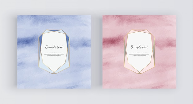 Blue and rose gold watercolor background with polygonal frame. Premium Vector