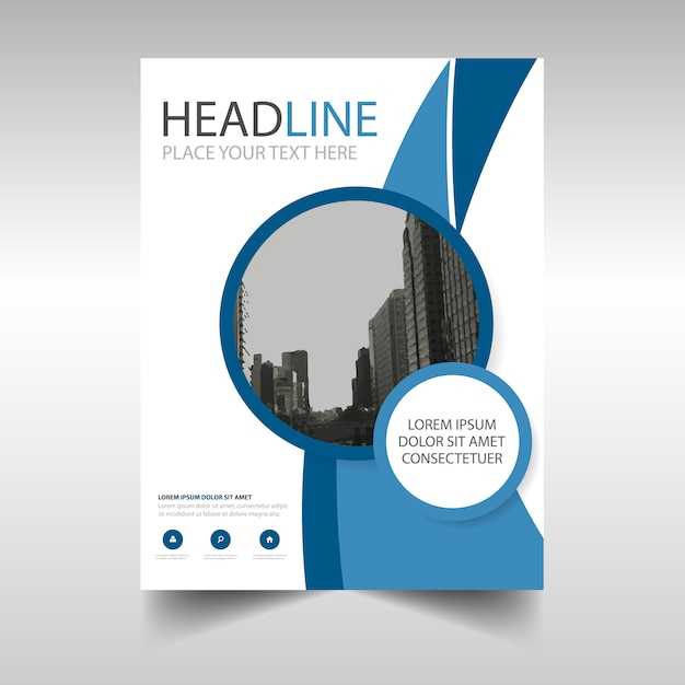 Blue Round Annual Report Brochure Vector  Free Download