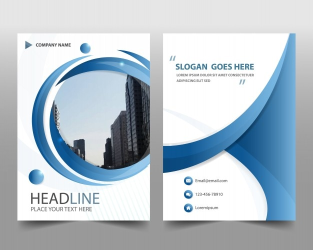 Blue Round Modern Annual Report Template Free Vector