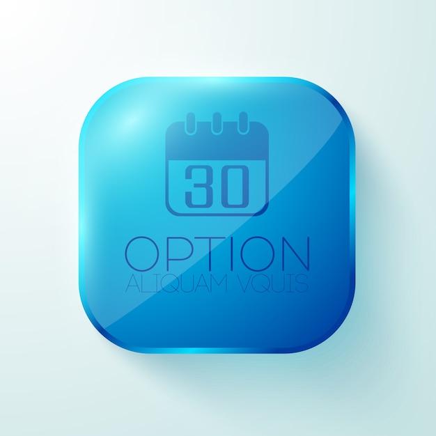 カレンダー付きの青い丸い四角いボタン 無料ベクター