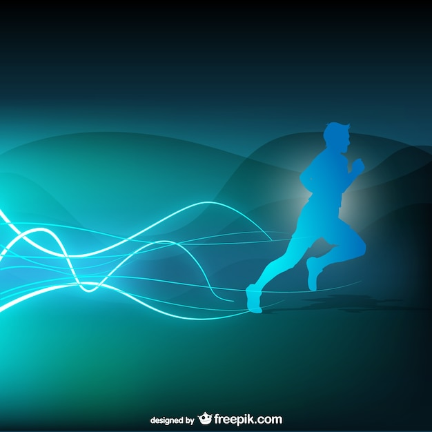 Blue runner silhouette background Free Vector