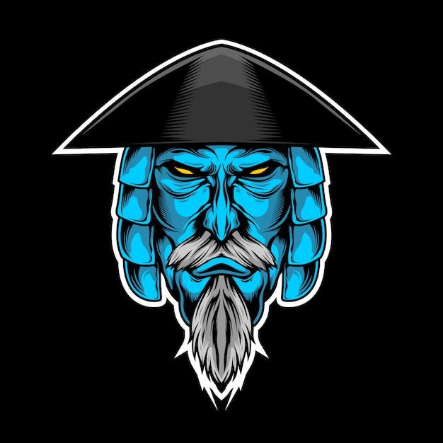 Blue samurai Premium Vector