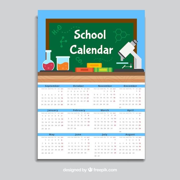 Blue school calendar, flat style