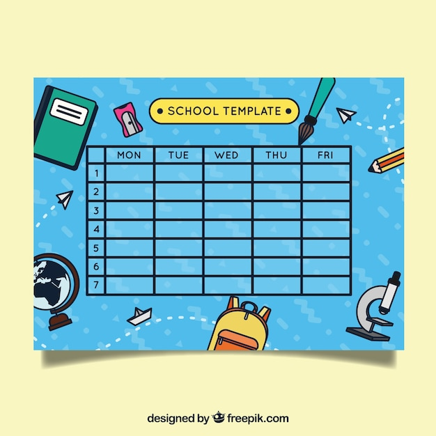 blue school schedule with material drawings