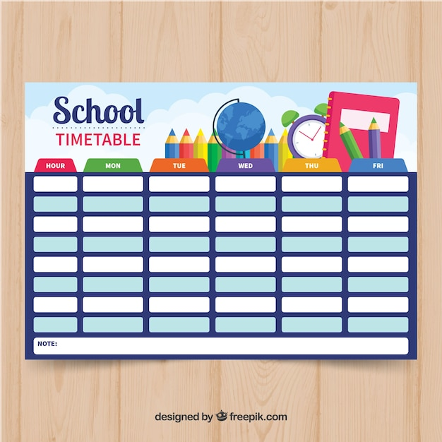 Blue school timetable Free Vector