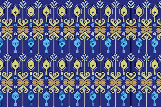 Blue seamless songket pattern template Premium Vector