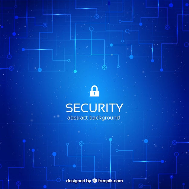 blue security background with circuits vector