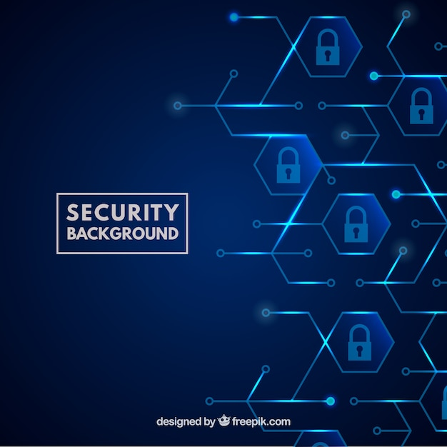 Blue security background with padlocks Free Vector