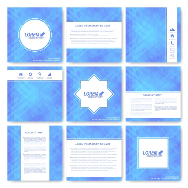 Blue set of square template brochure. business, science, medicine and technology Premium Vector