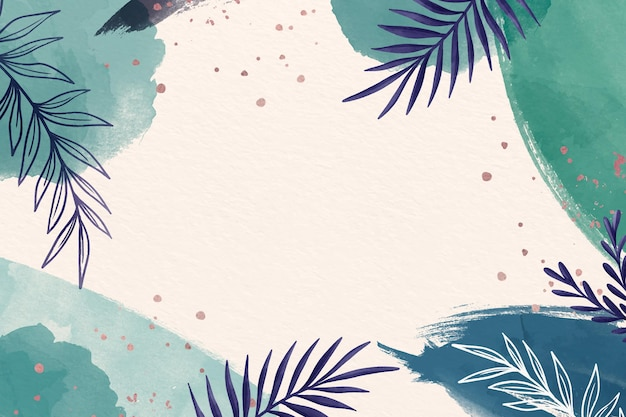 Blue shades of copy space leaves background Free Vector