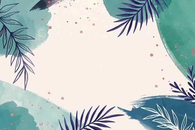 복사 공간의 푸른 음영 나뭇잎 배경 프리미엄 벡터