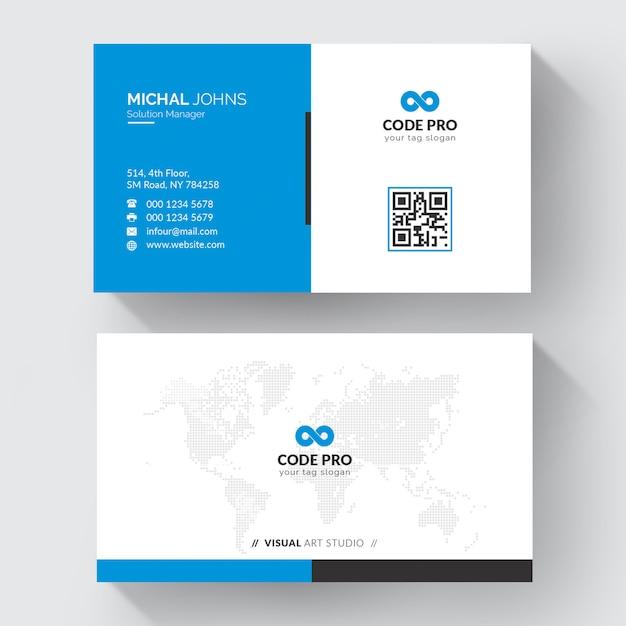 Blue shape visit card Free Vector