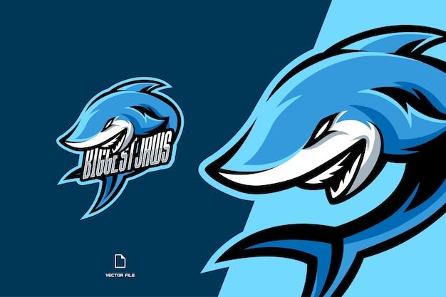 ヨシキリザメのマスコットゲームスポーツロゴテンプレートイラスト Premiumベクター