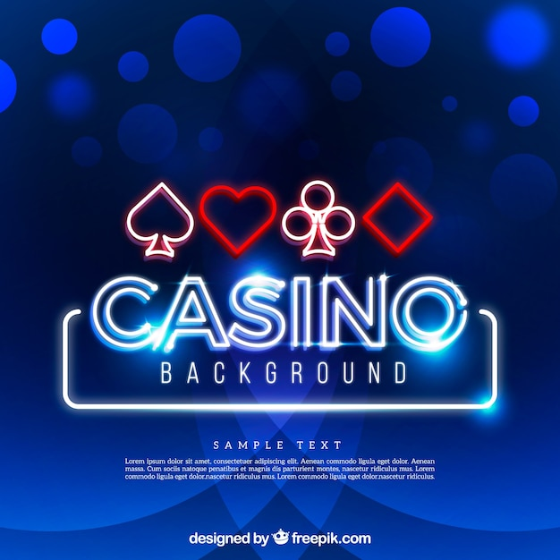 Blue shiny casino background and symbols Free Vector