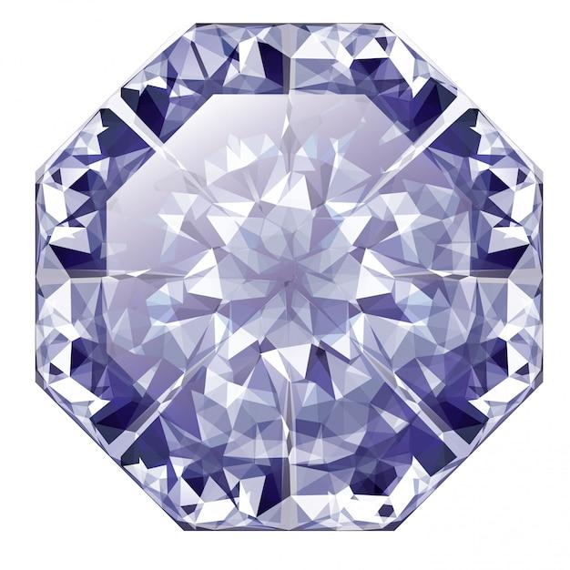 Blue shiny diamond Premium Vector