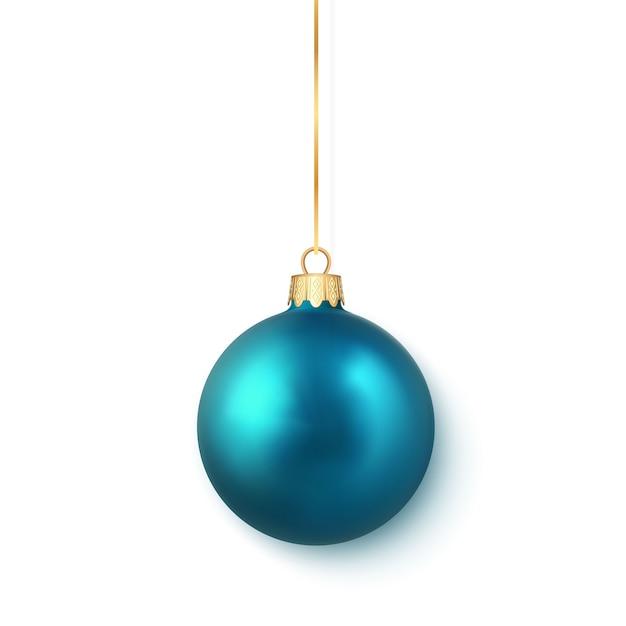 青い光沢のある輝くクリスマスボール。クリスマスのガラス玉。休日の装飾テンプレート。 Premiumベクター