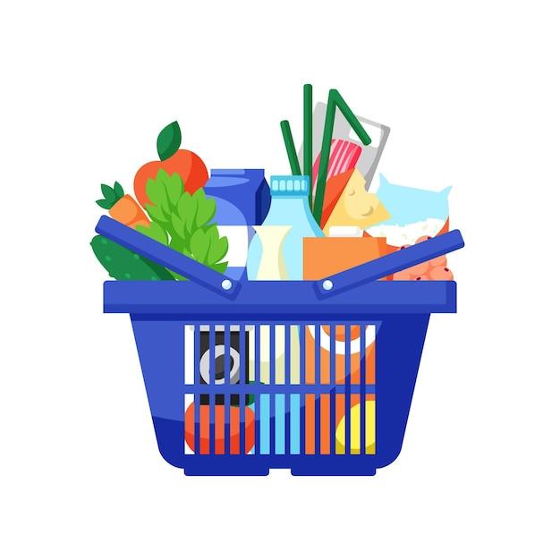 食料品でいっぱいの青い買い物かご Premiumベクター