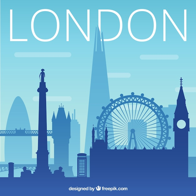 Blue silhouette of skyline of london Free Vector