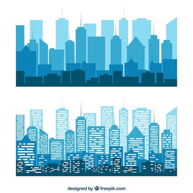 Blue silhouettes of buildings Premium Vector