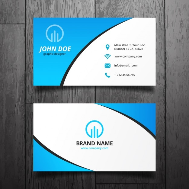 Blue simple business card design Vector | Free Download