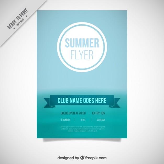 blue simple flyer of summer vector