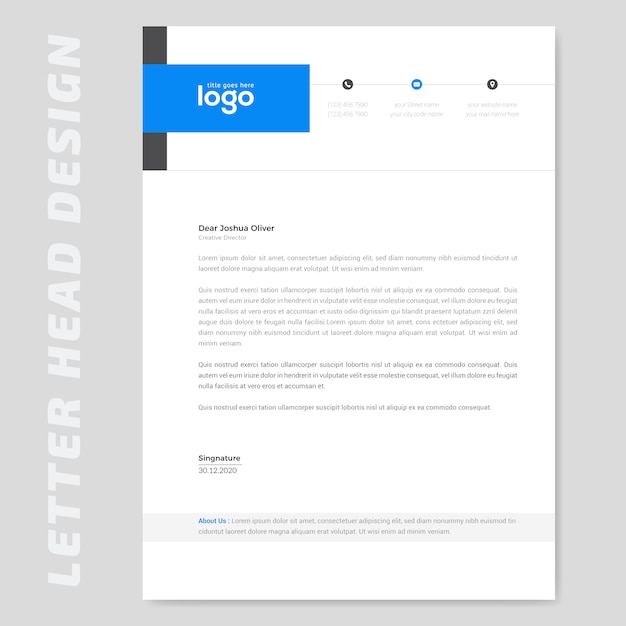 Blue simple letterhead Premium Vector