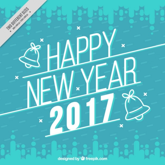 Blue sky background of new year 2017 in retro style