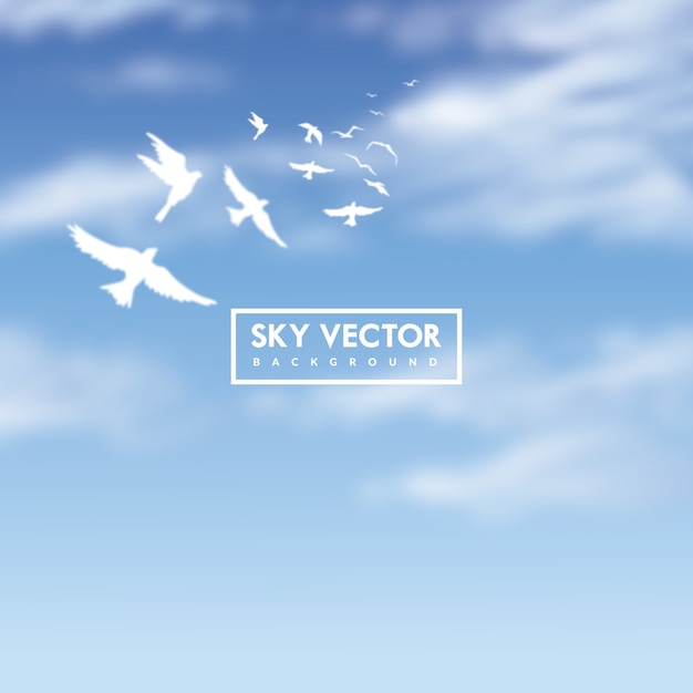 Blue sky background with white birds Free Vector