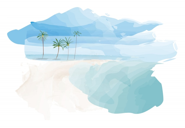 Blue sky and beach with coconut palm trees Premium Vector
