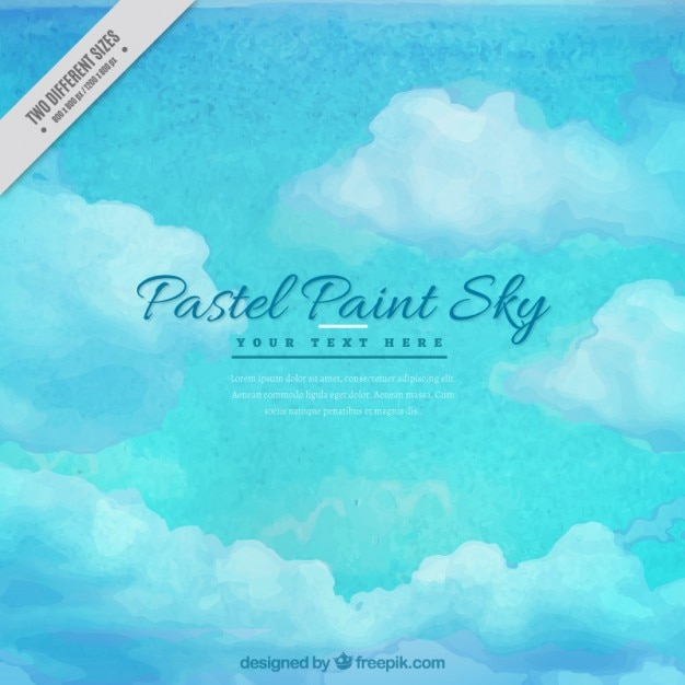 Blue sky watercolor background in pastel\ tones