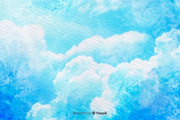 Blue sky with watercolor clouds Free Vector