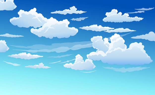 Голубое небо с белыми облаками ясный солнечный день Premium векторы