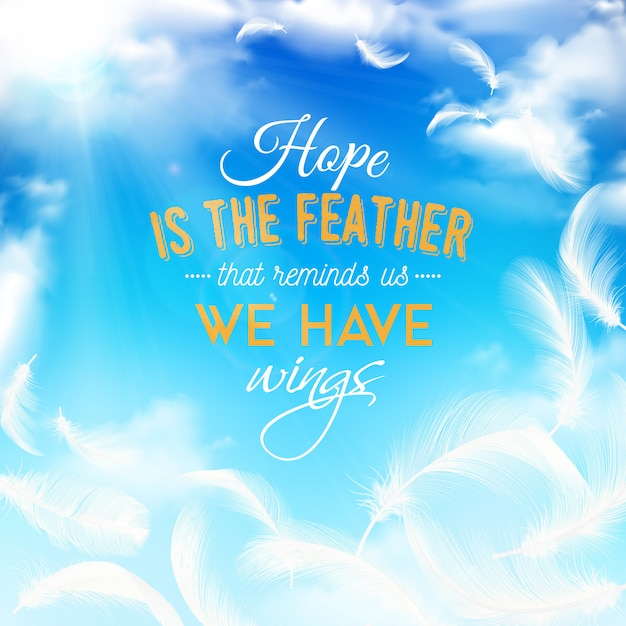Blue sky with white feathers Free Vector