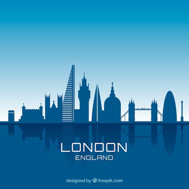 Blue skyline design of london Free Vector