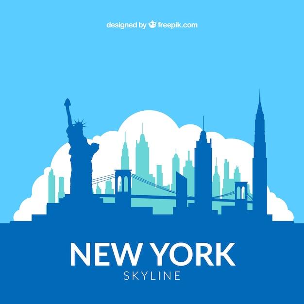 Blue skyline of new york Premium Vector