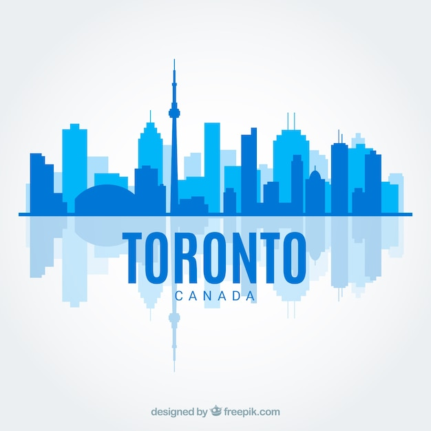 Blue skyline of toronto in flat style Free Vector