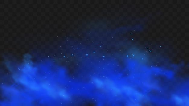 어두운 투명 한 배경에 고립 된 푸른 연기입니다. 현실적인 푸른 마법의 안개 구름, 화학 독성 가스, 증기 파. 프리미엄 벡터