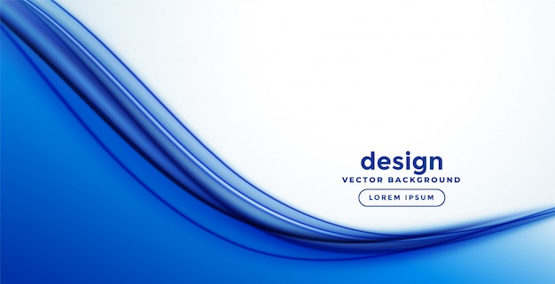 Blue smooth abstract wave banner design Free Vector