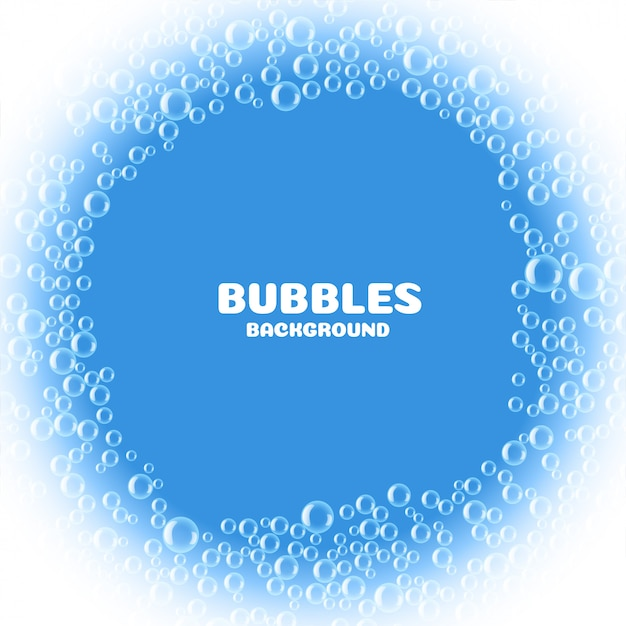 Blue soap or water bubbles background Free Vector