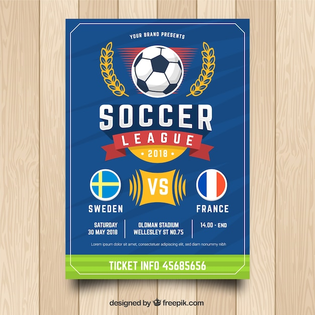 blue soccer flyer template vector free download