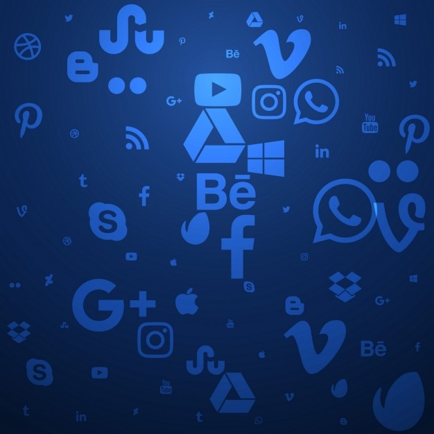 Blue social media background Free Vector