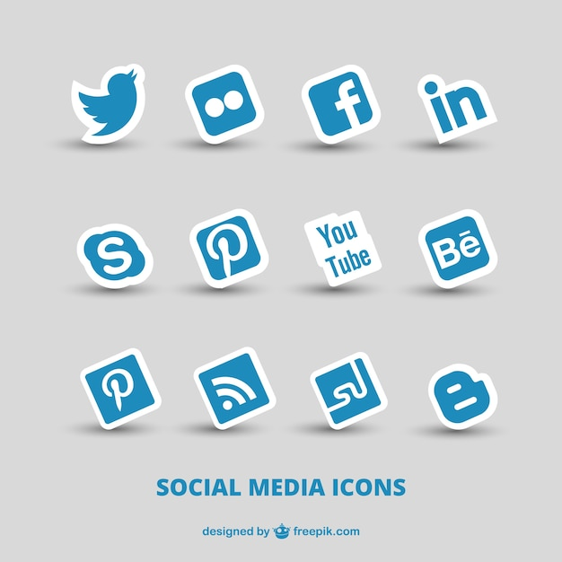 Blue social media icons Premium Vector