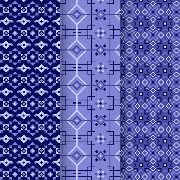 青いソンケットパターンコレクション Premiumベクター